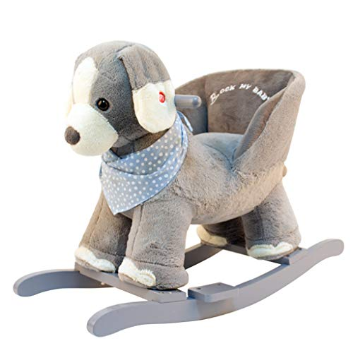 Rocking horse Gray Kindergarten Cute Children's Wooden Horse Solid Wood Dual-use Baby Rocking Chair