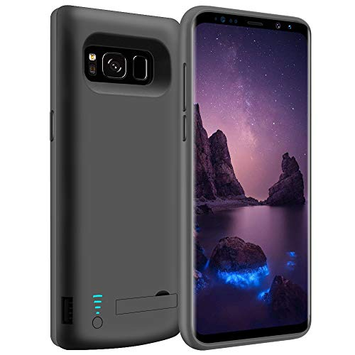 LOYTAL Battery Case for Samsung Galaxy S8 Plus, 6500mAh Rechargeable Extended Battery Charging Case, External Battery Charger Case, Backup Power Bank Case with Kickstand