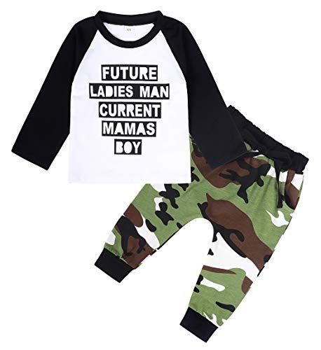 Edjude Conjuntos de Ropa Bebé Niño Sudaderas Camiseta Manga Larga Recién Nacido Pantalones Camuflaje 3-4 años