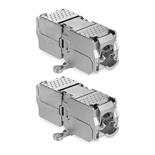 kwmobile Doppio Set 2X Accoppiatore Cavi Rete Ethernet Cat 6A - Connettore Estensione Segnale Internet Alta velocità 10 Gbit/s - Accoppiatori Cat6 A