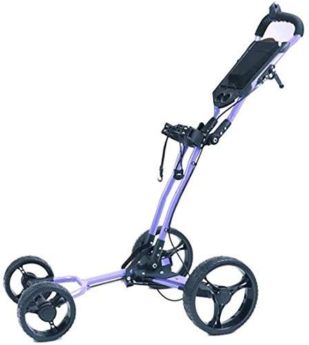 HY-WWK Golf Push Cart Golf 4 Räder Pull Push Cart Mit Kesselständer Anzeigetafel Golf Cart Light Trolley Einfach Zu Tragen Und Mit Sitzschirm Zu Falten Ständer Getränkehalter Blac-Schwarz,Lila
