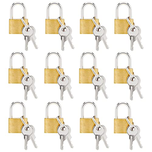 12 Pack Small Locks with Keys, Mini Padlock for Luggage, Backpacks, Gym Bags, Jewelry Box, Diaries