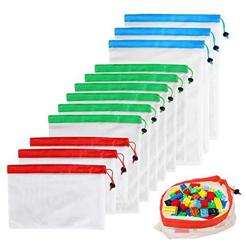 Happyshop18 Wiederverwendbare Netzbeutel, umweltfreundlich, waschbar, für Lebensmittel, Gemüse, Spielzeug, 12 Stück