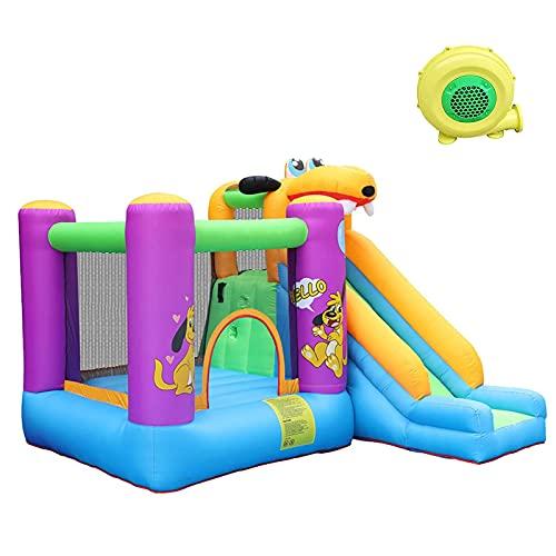 YQZ Casa de Rebote de jardín con tobogán Grande, Gorila Inflable para niños con soplador de Aire Red de Seguridad para Saltar Castillo Hinchable Bola de Piscina Casa de Salto