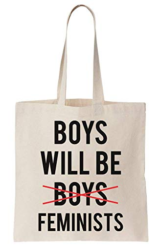 Boys Will Be Feminists Word Boys Crossed Out New Generation Growing Up Canvas Tote Bag Borsa di Tela