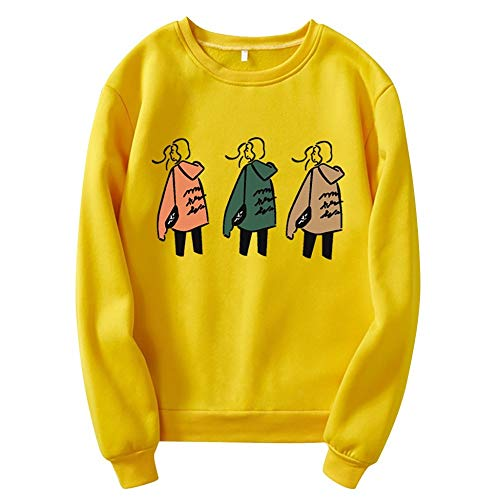 WYZTLNMA Ladys Autumn Graphic Printing Hoodies O-Neck Brief Pullover Sweatshirt Long Sleeve Casual Basic Daily Warm Tops Yellow