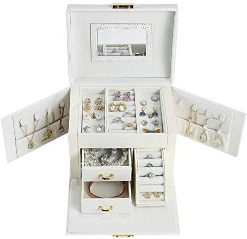 Large drawer jewelry box PU leather earring ring necklace storage box cosmetic box jewelry storage box makeup storage box-Nude Pink-White Updated