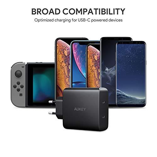 AUKEY USB C Ladegerät, 2-Port 18W USB Netzteil mit Power Delivery 3.0 für iPhone XS/XS Max/XR,Samsung Galaxy S9+/ S8 / Note8 usw.