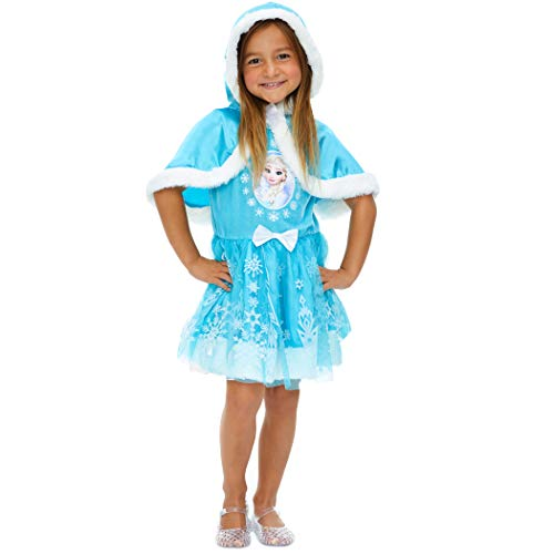 Disney Frozen Elsa Anna Girls Costume Dress with Hooded Cape
