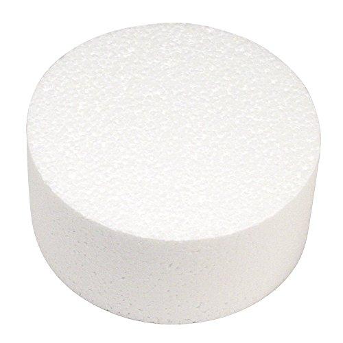 Rayher 30067000 - Disco in polistirolo, ideale come base per cake pop o torte finte, Bianco, 10 x 10 x 7 cm