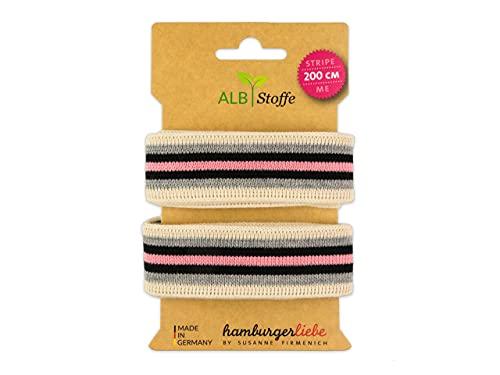 Albstoffe Stripe Me College Ahoy - Cinta para manualidades, color gris, negro y rosa
