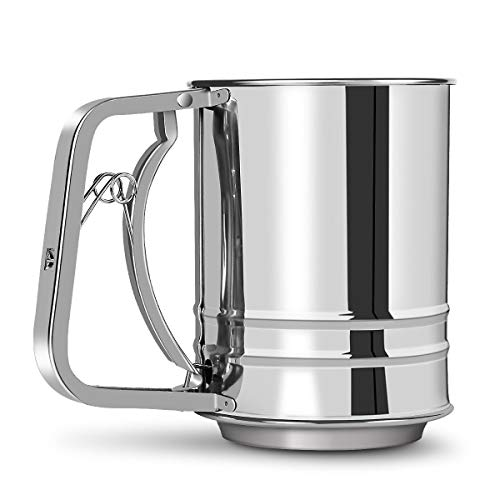 MaMix Stainless Steel Flour Sifter 3 Cup with Hand Press, Double Layers Sieve, Baking Sieve Cup