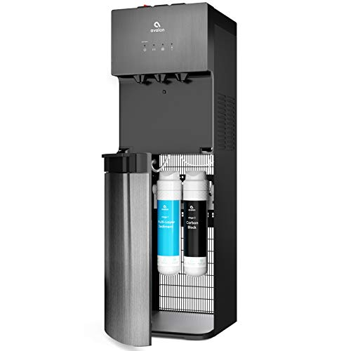 Avalon A5BLK Self Cleaning Bottleless Water Cooler Dispenser, UL/Energy star, NSF certified Filters, Black Stainless Steel, full size