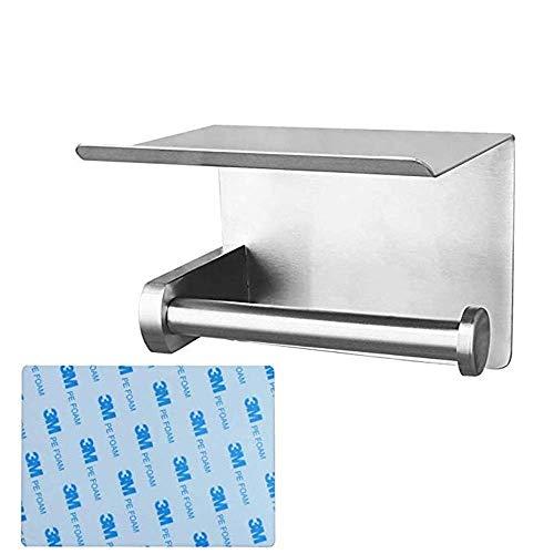 Soporte de papel higiénico Montaje de pared de acero inoxidable Autoadhesivo Titular de papel con estante de almacenamiento Rollo de inodoro Dispensador Perchero Accesorios de baño (Color: Plata, Tama