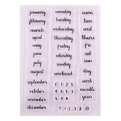 DIY Bullet Journal Calendar Planner Week Month Clear Stamps for Cards Making Decoration and Scrapbooking Rubber Stamps for Craft