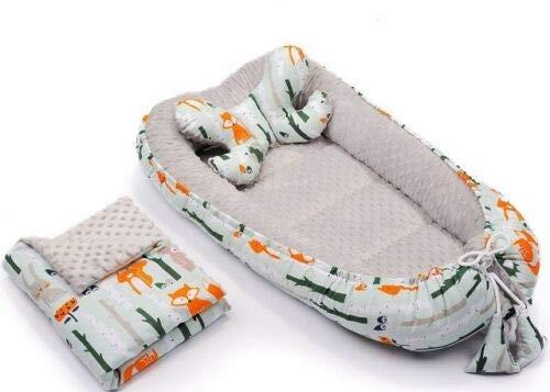 3tlg Babynestchen Babykokon 2seiting MINKY Kokon Nest Babynest + Decke Kissen (Waldtiere/Grau)