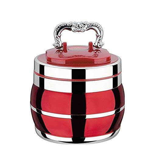 LXMK Brotdose Vakuum-Thermoskanne Edelstahl Schulnahrungsmittelbehälter Großer tragbarer Picknick-Brotkasten im Japan-Stil mit Fächern Lunchbox1.8L -- Rot