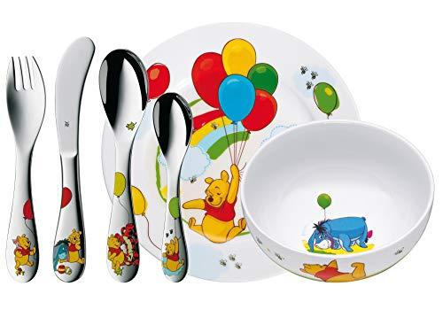 WMF Disney Winnie Pooh Kinder Geschirrset 6-teilig, Kindergeschirr mit Kinderbesteck Edelstahl, ab 3 Jahre, Cromargan poliert, spülmaschinengeeignet