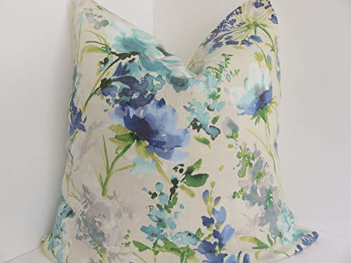 Qui556 Pkaufmann Mooie vaste planten Pauw Diepe Oceaan Blauw Selderij Hemel Blauw Grijs Spa Blauw Tinnen Grijs en Gras Groen Kussen Cover