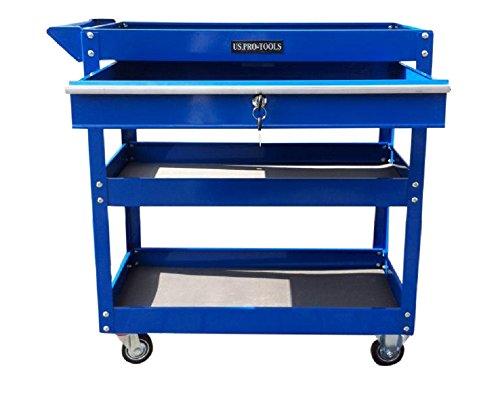 US Pro Tools Werkzeugwagen, Werkzeugschrank mit abschließbarer kugelgelagerter Schublade, Blau