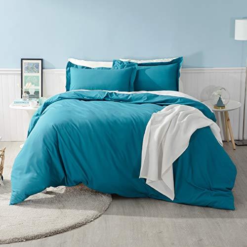Bedsure Duvet Cover Double Size - 3 pcs Bedding Set with Zipper Closure, Teal, 200x200cm