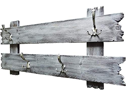 SHaBBy CHic ViNTaGe Holz Garderobe mit 4x3 Metallhaken grau (HxB: 5ox1oo cm) aus Echtholz/Massivholz im used look rustikal Landhaus Stil (alternativ: Gaderobe, Gardrobe)
