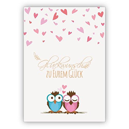 Twee schattige uilen met veel hart feliciteren voor een bruiloft, voor de baby: felicitatie voor uw geluk. 4 Grußkarten