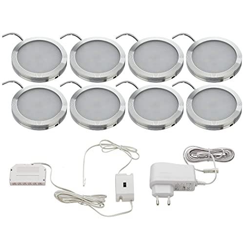 SEBSON Juego de 8 luces LED para armario sin contacto, intensidad regulable, sensor infrarrojo, luz blanca cálida 3000 K, 8 x 2 W, 130 lm, iluminación inferior redonda, ultraplana, 8 mm, aluminio