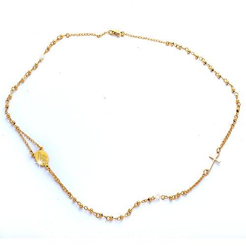 Beloved - Collar unisex con rosario, gargantilla con colgante de acero inoxidable,...