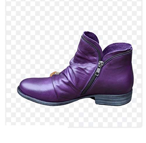 Vrouwen Boots 2020 Leather laarsjes platte schoenen Herfst Winter Snow Boots Platform Zipper Punk Boots Damesschoenen,Purple,35