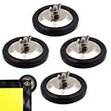 WF 4 Pack Base Magnet Warning Signs Holder, Universal Flag Holder, Rubber Pad & Wing Nut, Neodymium Heavy Duty Magnetic Mount for Warning Signs, Safety Flags, Oversized Load Flags, Wire Loop Flags