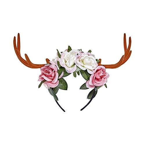 Widmann 07792 - Haarreif Geweih mit Blumen, Rentier, Reh, Accessoire, Mottoparty, Karneval