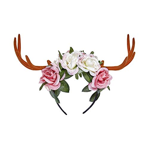 Widmann 07792 Haarreifen Geweih mit Blumen, Damen, Mehrfarbig