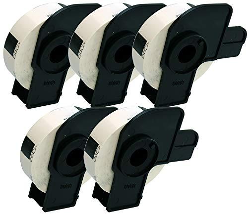 5 x DK11204 Mehrzweck-Etiketten (400 Etiketten pro Rolle) kompatibel zu Brother QL-500 QL-550 QL-560 QL-570 QL-580N QL-700 QL-720NW QL-800 QL-1050 QL-1060N Etikettendrucker, Papier weiß (17mm x 54mm)