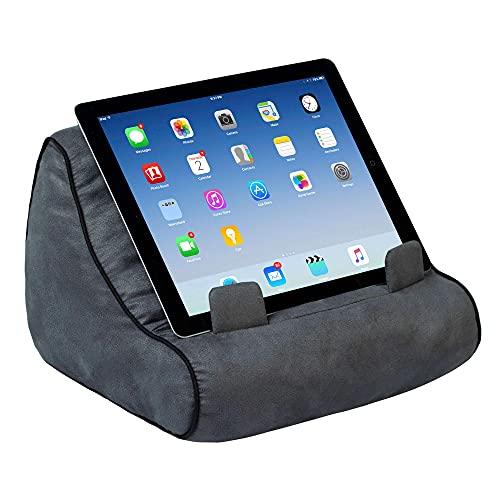 Soporte sofá de Lectura, Atril para Libros, iPad, Tablet, eReader, cojín de Descanso, Idea de Regalo - Modelo Gris
