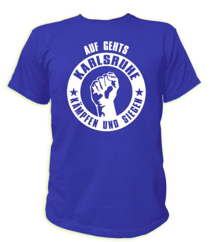 Artdiktat T-Shirt Auf geht´s Karlsruhe kämpfen und Siegen Unisex, Größe S, blau