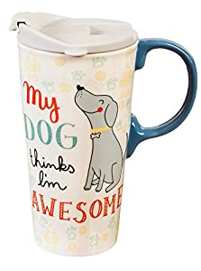 Travel mug with dog and quote