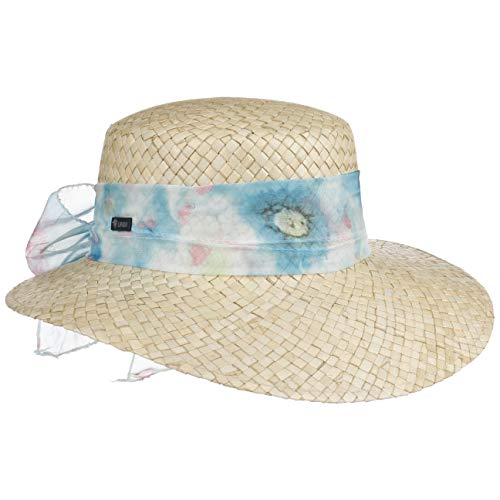 Lipodo Malima Strohhut mit Schleife Damenhut Sommerhut Sonnenhut Strandhut Damen - Made in Italy Frühling-Sommer - One Size hellblau