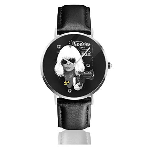 Unisex Business Casual Blondes Have More Fun Atomic Blonde Uhren Quarz Leder Armbanduhr mit schwarzem Lederband für Männer und Frauen Young Collection Geschenk