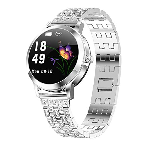 ZEIYUQI Elegante Reloj Inteligente para Mujer,Recordatorio de Llamada y Empuje de Información IP68 Reloj Inteligente a Prueba de Agua Compatible con Android 5.0,iOS 9.0 y Superior,Diamond-Silver