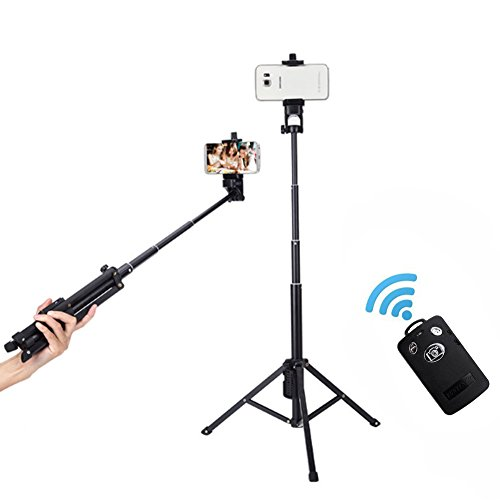 Selfie Stick, Foneso Yunteng 3 in 1 Extendable Self-portrait Monopod Handheld Tripod with Removable Bluetooth Remote Shutter