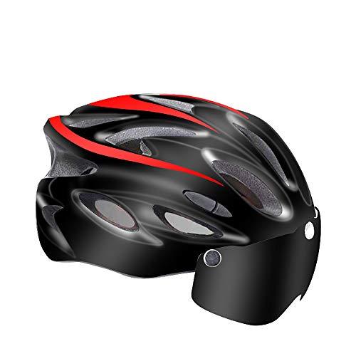 SHR-GCHAO MTB Casco, Gafas De Seguridad con Los Anteojos Y Las Luces, Bicicletas De Carretera Ocasion para Hombres Y Mujeres, para La Seguridad En Deportes Al Aire Libre (Un Tamaño),Black Red