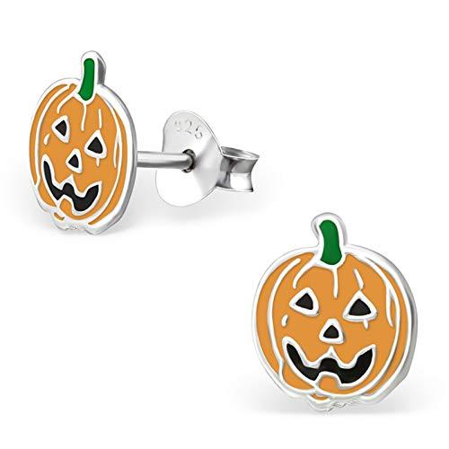 Monkimau Mädchen Ohrringe Halloween Kürbis Ohrstecker aus 925 Sterling Silver Silber