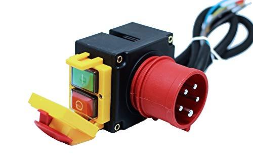 Schalter - Stecker Kombination 3-phasig 400V mit 80cm Kabel, Phasenwender und Magnet-Notausschalter -Baugleich KEDU KOA7 400V