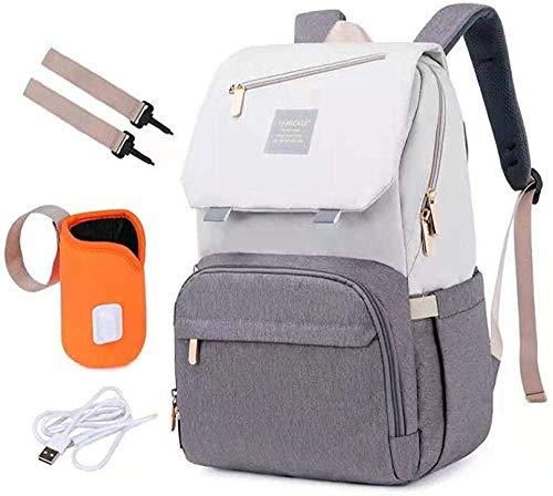 Etyybb Baby Changing Bag Mochila Bolsas de pañales de gran capacidad con aislamiento de papel de aluminio Bolsas de puerto USB Bolso de mano-Beige_Grande