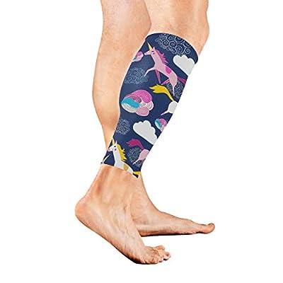 Mangas de compresión para pantorrillas, para hombres y mujeres, unicornio colorido, diseño de nubes de la suerte, calcetines de compresión sin pies, 1 par