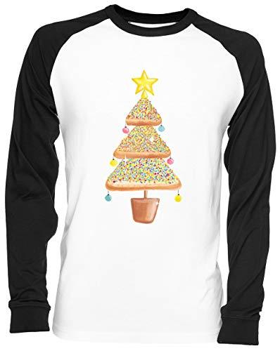Pan de Molde Navidad Árbol Blance Camiseta De Béisbol Unisex Tamaño XL...