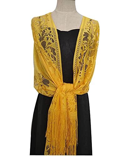 miaoyu Elegant Wedding Tassel Shawl Female New Pure Color 185 * 63 Hollow Lace Party Bride Bridesmaid Mesh Yarn Temperament Evening Scarf (Color : Yellow)