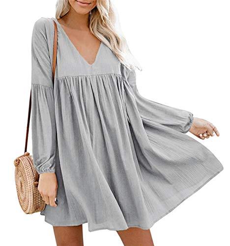 Eledobby Damen Etuikleider Damen Tunika Kleider V-Ausschnitt Swing Minikleid Langarm Plissee Lässige Frühlingskleidung für Party Beach Hellgrau S