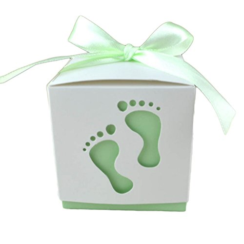 monbedos 50Candy Box mit Spitzenband niedliche Baby Fußabdruck Geschenk Papier Box Keks